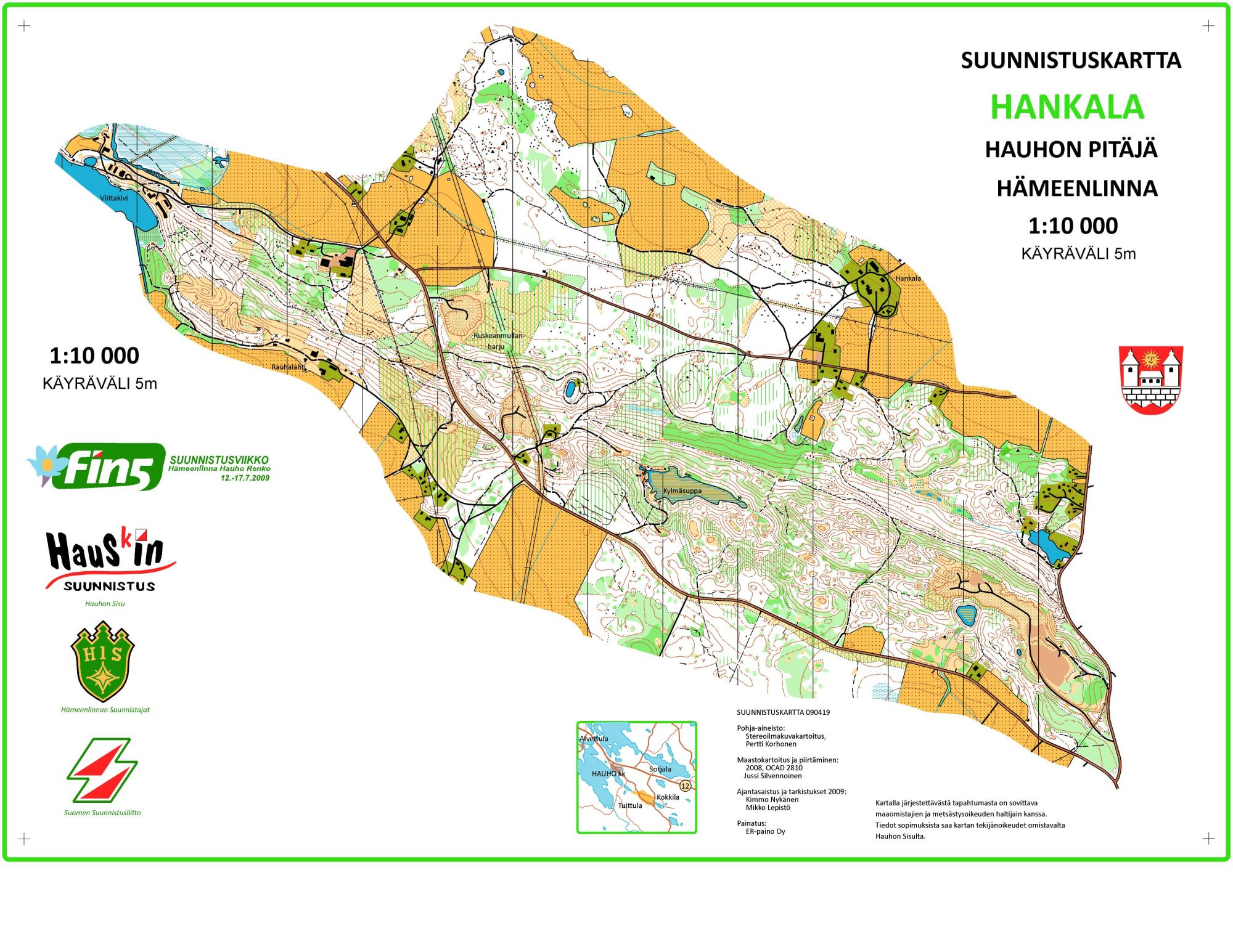 Fin5 2009 1st Day July 12th 2009 Orienteering Map From